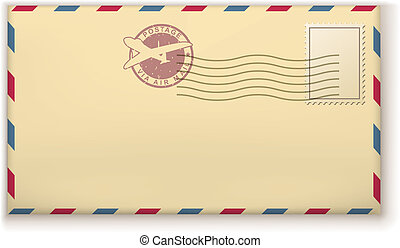Old postage envelope with stamps isolated on white background.