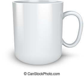 Blank white mug isolated on white background vector...
