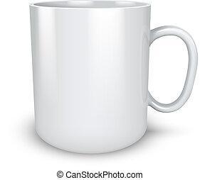 Blank white mug isolated on white background vector...