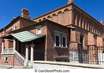 old synagogue in jewish district of krakow - kazimierz on...