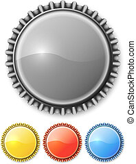 Metal bottle cap isolated o white background with color...