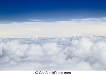 Heap clouds with blue sky above sky background