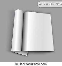 Blank opened magazine with rolled page vector template