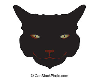 Head of a black awful horror cat with alive bloody eyes