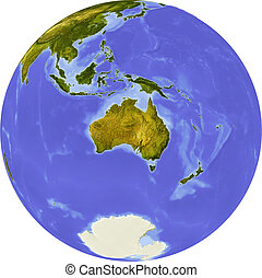 Globe, shaded relief, centered on Africa - Globe, centered...