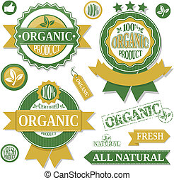 organic products labels vector - organic products labels and...