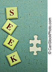 Seek - Seek spelled out in colored blocksJigsaw Puzzle Parts...