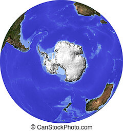 Globe, shaded relief map - Globe, centered on the South...