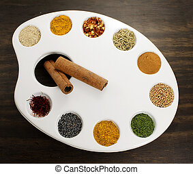 Spices palette Creative concept with spices and painting...