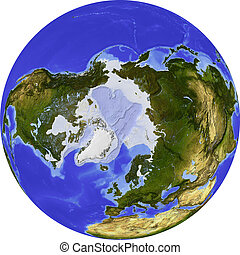 Globe, shaded relief - Globe, centered on the North Pole....