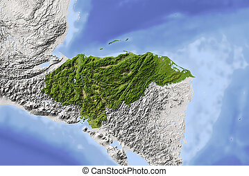 Honduras, shaded relief map - Honduras. Shaded relief map....