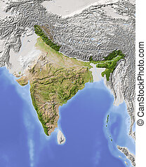 India, shaded relief map