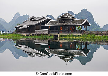 Chinese authentic building - Chinese authentic wooden...