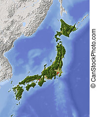 Japan, shaded relief map - Japan. Shaded relief map, with...
