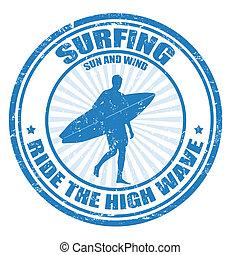 Surfing stamp - Surfing grunge rubber stamp with surfer...