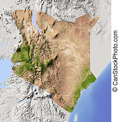 Kenya, shaded relief map - Kenya. Shaded relief map....