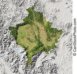Kosovo, shaded relief map - Kosovo Shaded relief map with...