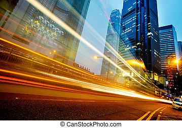 hongkong - modern city at night  in hongkong