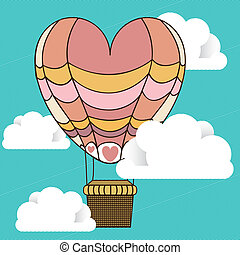 balloon hearth over sky background vector illustration