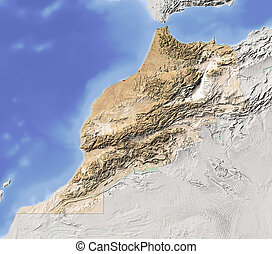 Morocco, shaded relief map