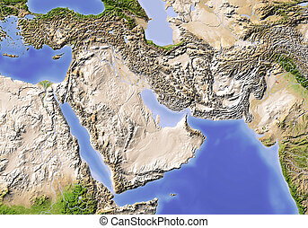 Near East Shaded relief map - Near East from Egypt to...