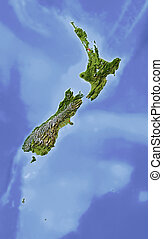 New Zealand, shaded relief map - New Zealand Shaded relief...