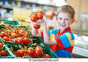 買い物, スーパーマーケット, 子供