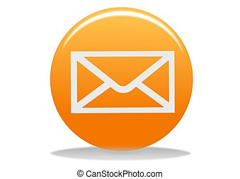 email icon - orange email web icon - web design buttons