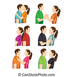 couple poses over white background vector illustration