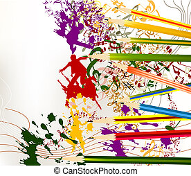 Abstract colorful art vector background with ink splash and...