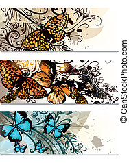 Business cards  set with butterflie