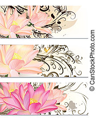 Business cards set with lotus flow - Vector set of business...