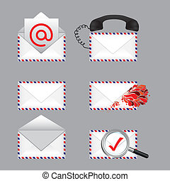 mail types over gray background vector illustration
