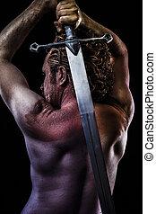 guerrero, grande, espada, muscular, espalda