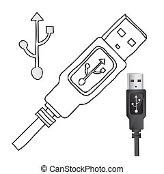usb connexion over white background vector illustration