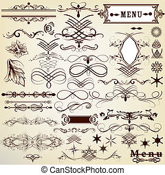 Calligraphic vintage design element - Vector set of...