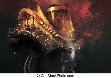Astronaut, fantasy warrior with huge space weapon