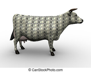 Cash Cow-Money Concept Art-3D Render
