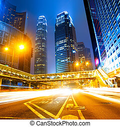 hongkong - Car light trails and urban landscape in Hong Kong