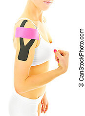 Physio tape - A picture of a special physio tape put on an...