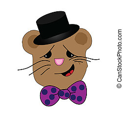 Well Dressed Mouse - Caricature of a mouse wearing dress hat...