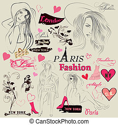 Collection of fashion elements, ske - Vector set of sketch...