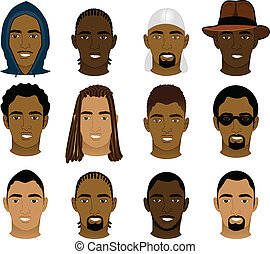 Black Men Faces - Vector Illustration of 12 different Black...
