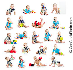 collection of active baby or kid boy isolated