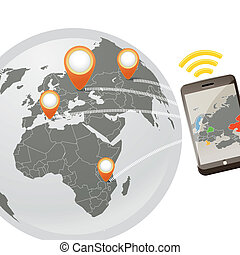 Global wireless phone connection illustration