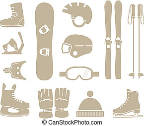 winter sports equipment silhouettes collection