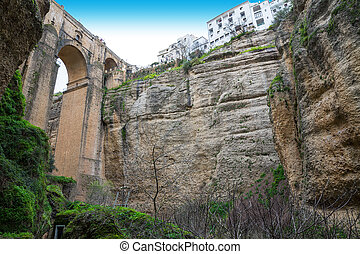 Ronda, Spain - Bottom-up view of the old city of...