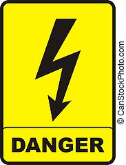 Danger Sign - danger sign with black color and yellow...