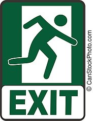 Emergency Exit Sign vector image dark green and white