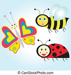 cartoon butterfly, ladybird and bee - set of cartoon insect:...